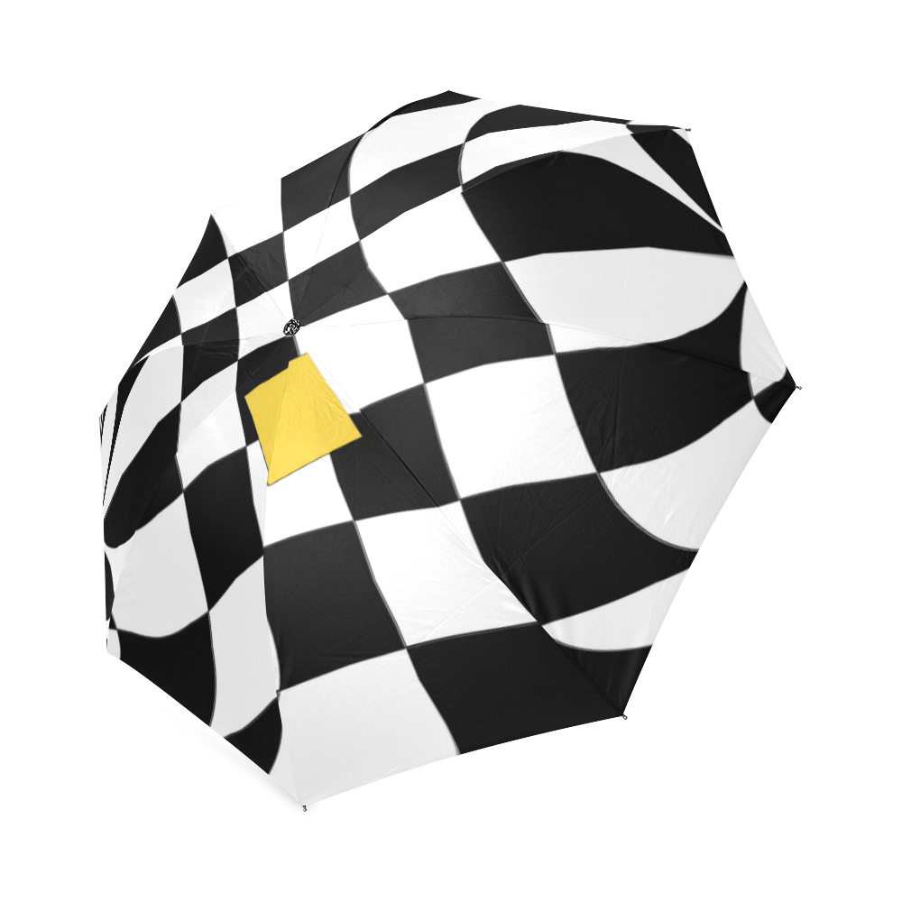 Dropout Yellow Black and White Distorted Check Foldable Umbrella (Model U01)