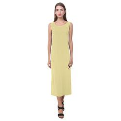 Custard Phaedra Sleeveless Open Fork Long Dress (Model D08)