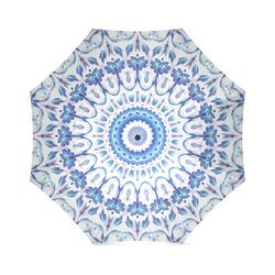 Floral Mandala Blue Purple White Foldable Umbrella (Model U01)