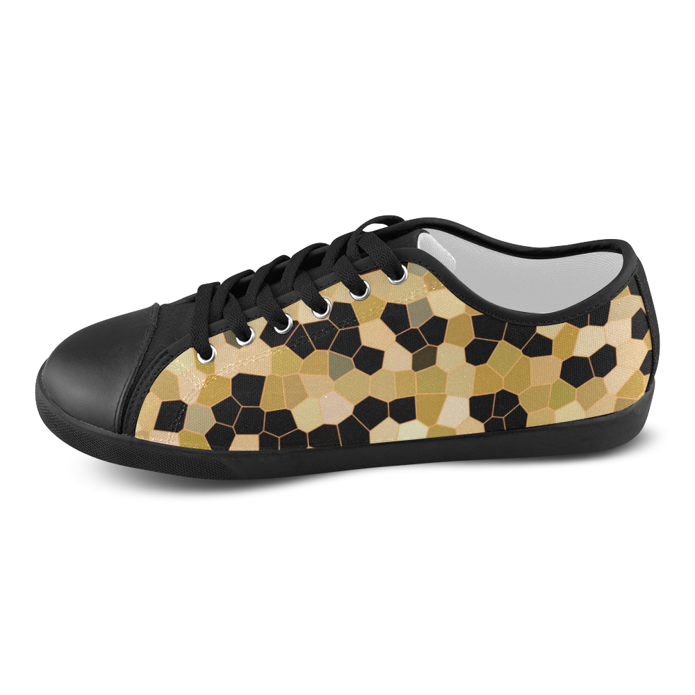 Gold and Black Mosaic Women's Canvas Shoes (Model 016)