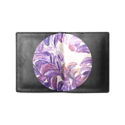 Purple Leaves with Gold Flakes Men's Leather Wallet (Model 1612)