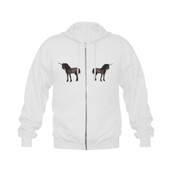 Dreamy Unicorn with brown grunge background Gildan Full Zip Hooded Sweatshirt (Model H02)