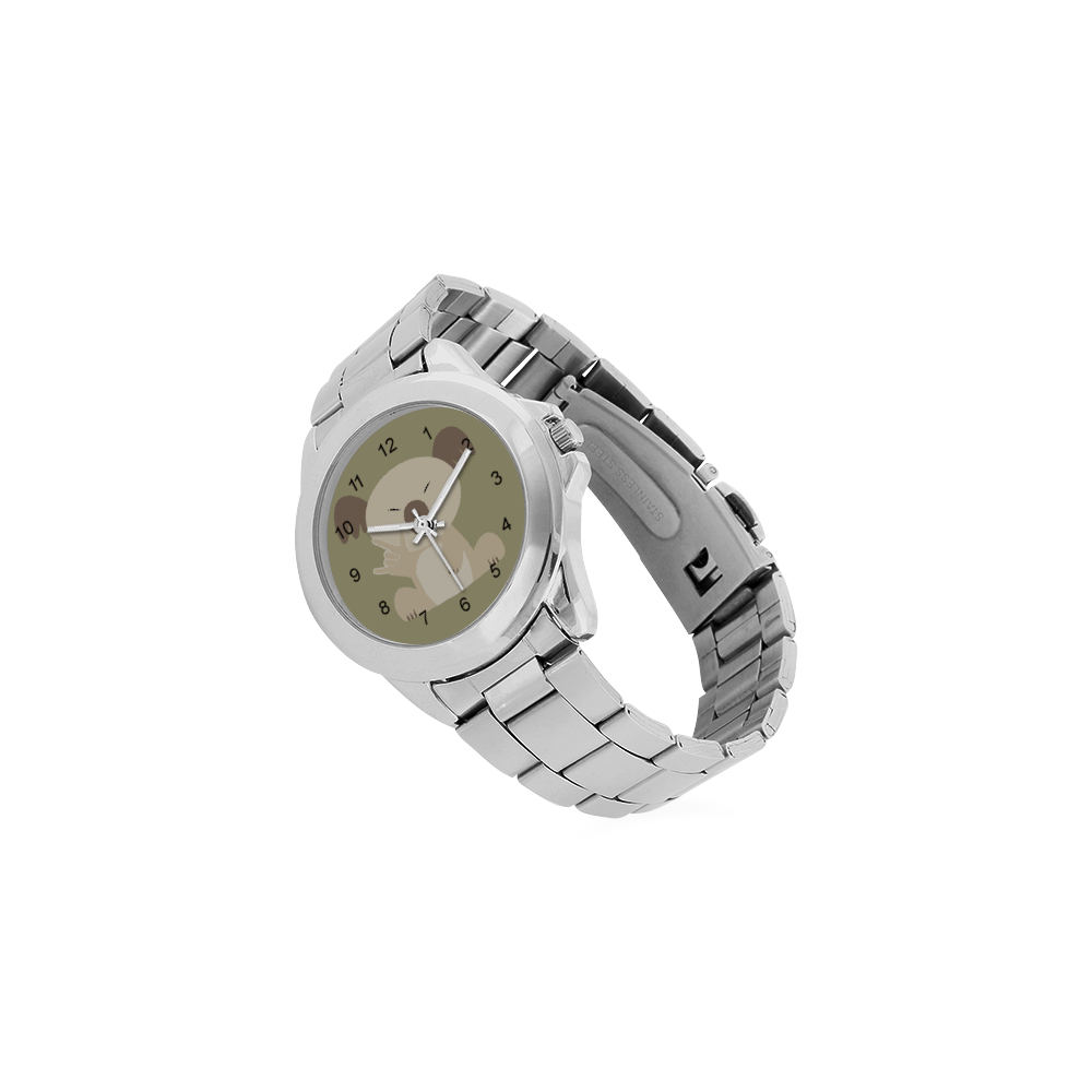 ASL I Love You Koala Unisex Stainless Steel Watch(Model 103)