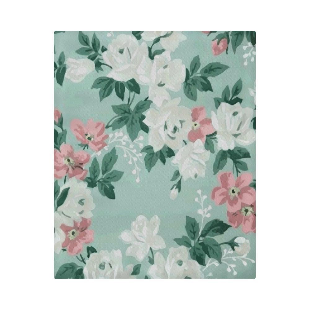 Vintage Pink White Teal Floral Wallpaper Pattern Duvet Cover 86 X70