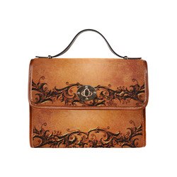 Decorative vintage design and floral elements Waterproof Canvas Bag/All Over Print (Model 1641)