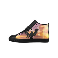 Angel on a jetty in the sunset Aquila High Top Microfiber Leather Women's Shoes (Model 027)