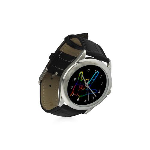 Rainbow Burst ASL I Love You Women's Classic Leather Strap Watch(Model 203)
