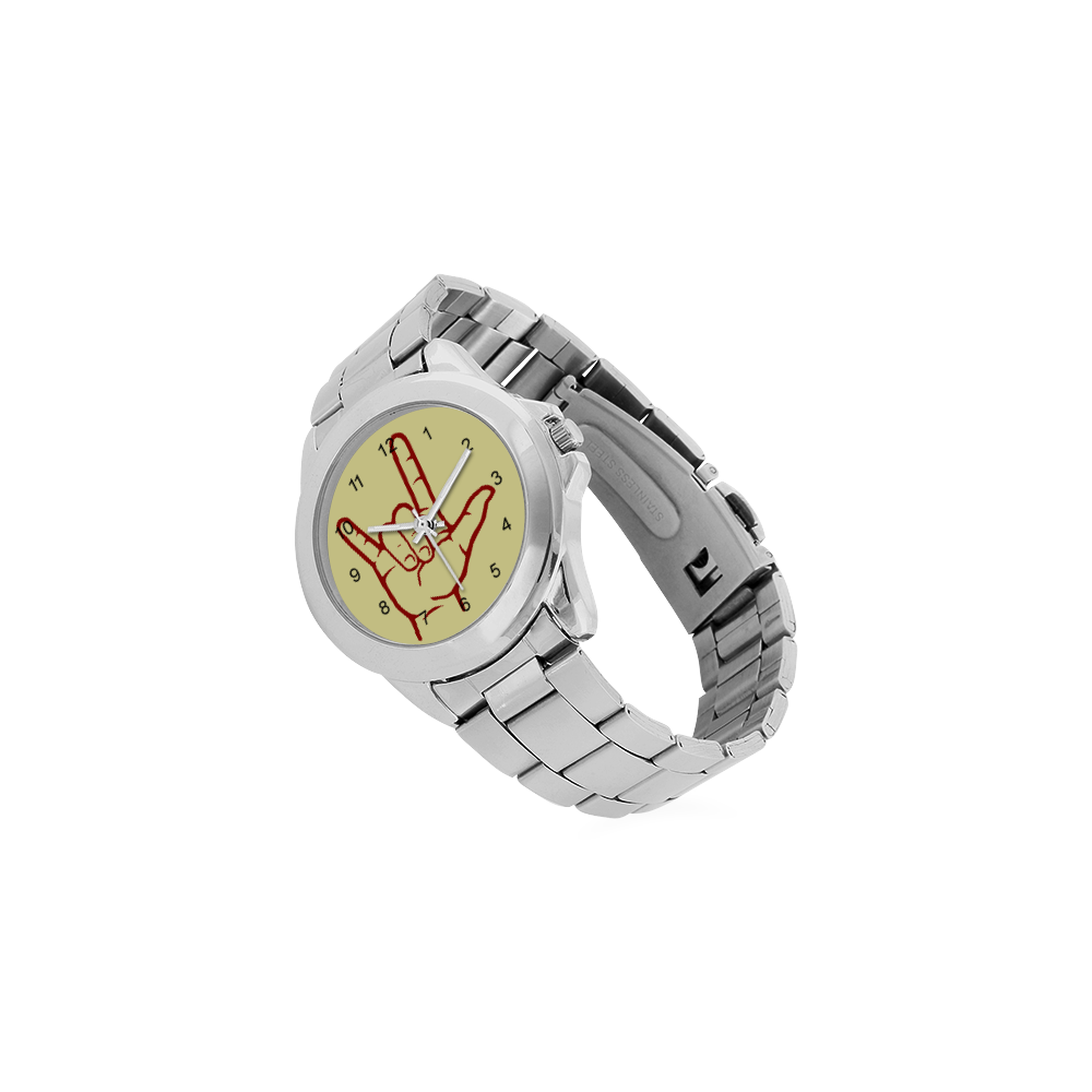 Red ASL I Love You Unisex Stainless Steel Watch(Model 103)