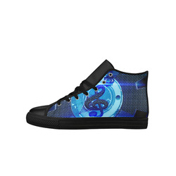Music, clef in blue mechanical design Aquila High Top Microfiber Leather Women's Shoes (Model 027)