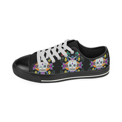 Día De Los Muertos Skulls Ornaments multicolored Men's Classic Canvas Shoes (Model 018)