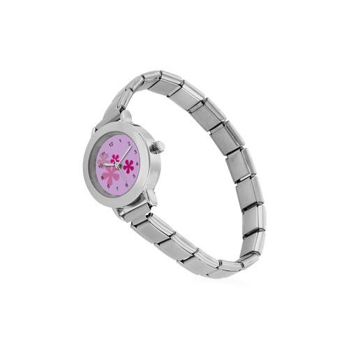 Pink Retro Flowers Women's Italian Charm Watch(Model 107)