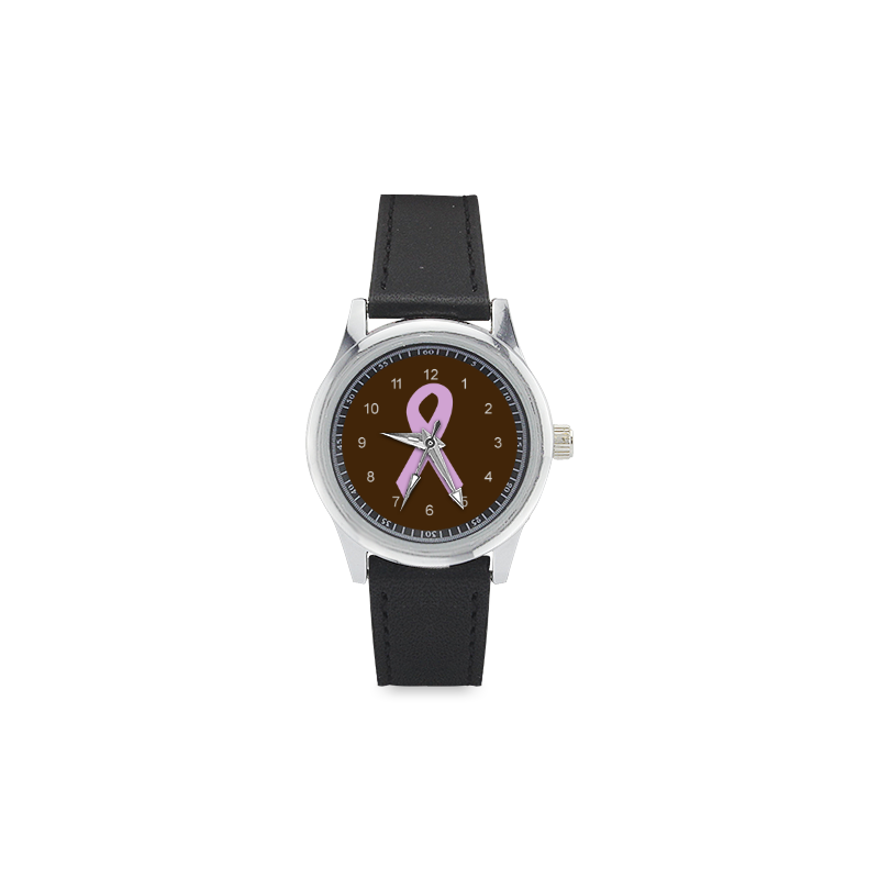 Light Pink Ribbon Kid's Stainless Steel Leather Strap Watch(Model 208)