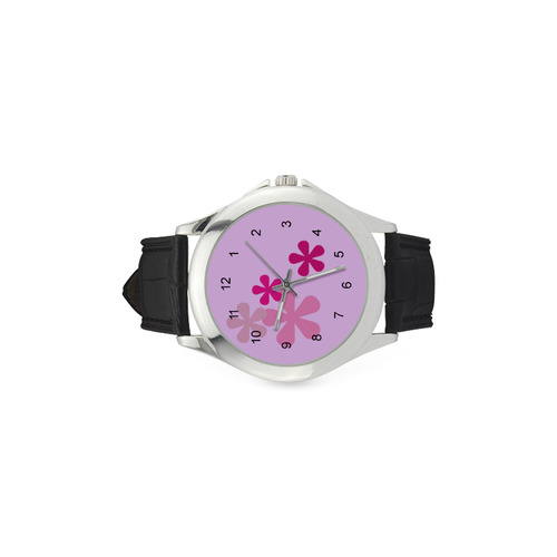 Pink Retro Flowers Women's Classic Leather Strap Watch(Model 203)
