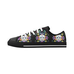Día De Los Muertos Skulls Ornaments multicolored Aquila Microfiber Leather Women's Shoes (Model 028)
