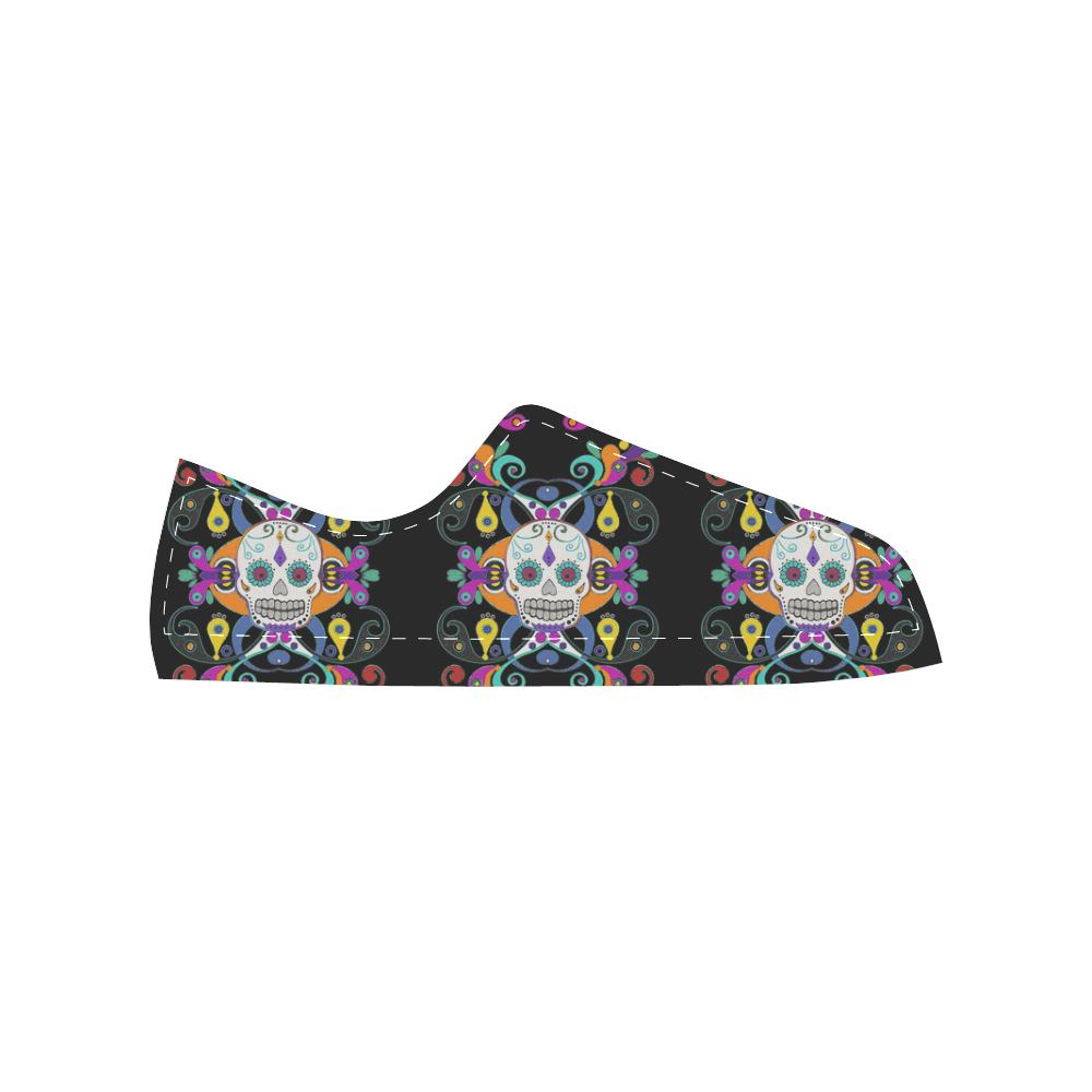 Día De Los Muertos Skulls Ornaments multicolored Men's Classic Canvas Shoes (Model 018)