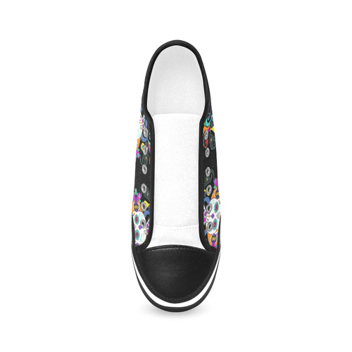 Día De Los Muertos Skulls Ornaments multicolored Women's Canvas Zipper Shoes (Model 001)