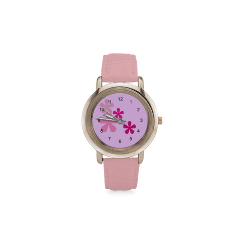 Pink Retro Flowers Women's Rose Gold Leather Strap Watch(Model 201)