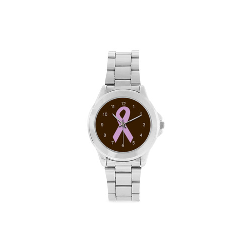 Light Pink Ribbon Unisex Stainless Steel Watch(Model 103)