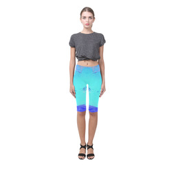 Abstract in Nature ICE BLUE Hestia Cropped Leggings (Model L03)