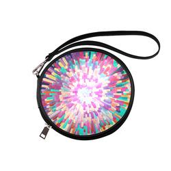 Colorful Exploding Blocks Round Makeup Bag (Model 1625)