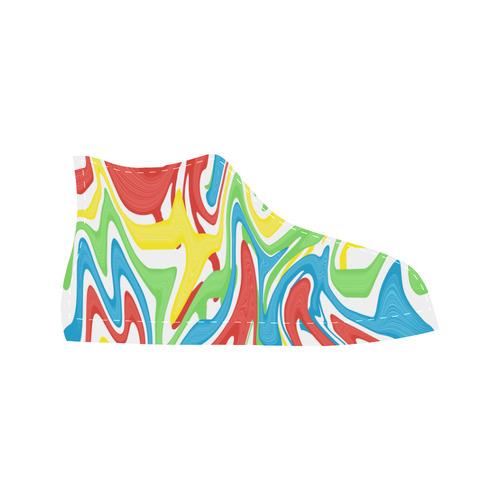 Swirled Rainbow Aquila High Top Microfiber Leather Men's Shoes (Model 027)