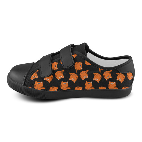 Cute Tiger Striped Kitty Cat Pattern Velcro Canvas Kid's Shoes (Model 008)