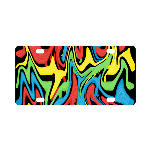 Swirled Rainbow Classic License Plate