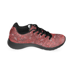 Red and black swirls doodles Men's Running Shoes (Model 020)