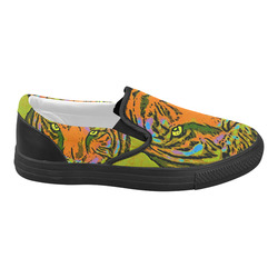 Pop Art TIGER HEAD orange green blue Women's Slip-on Canvas Shoes (Model 019)