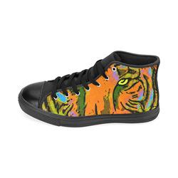 Pop Art TIGER HEAD orange green blue Men's Classic High Top Canvas Shoes /Large Size (Model 017)