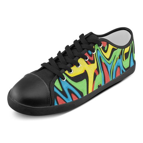 Swirled Rainbow Women's Canvas Shoes (Model 016)