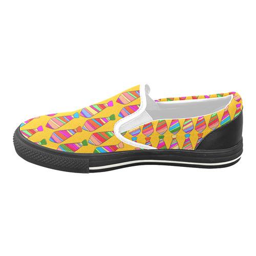 Popart Tie by Popart Lover Women's Unusual Slip-on Canvas Shoes (Model 019)