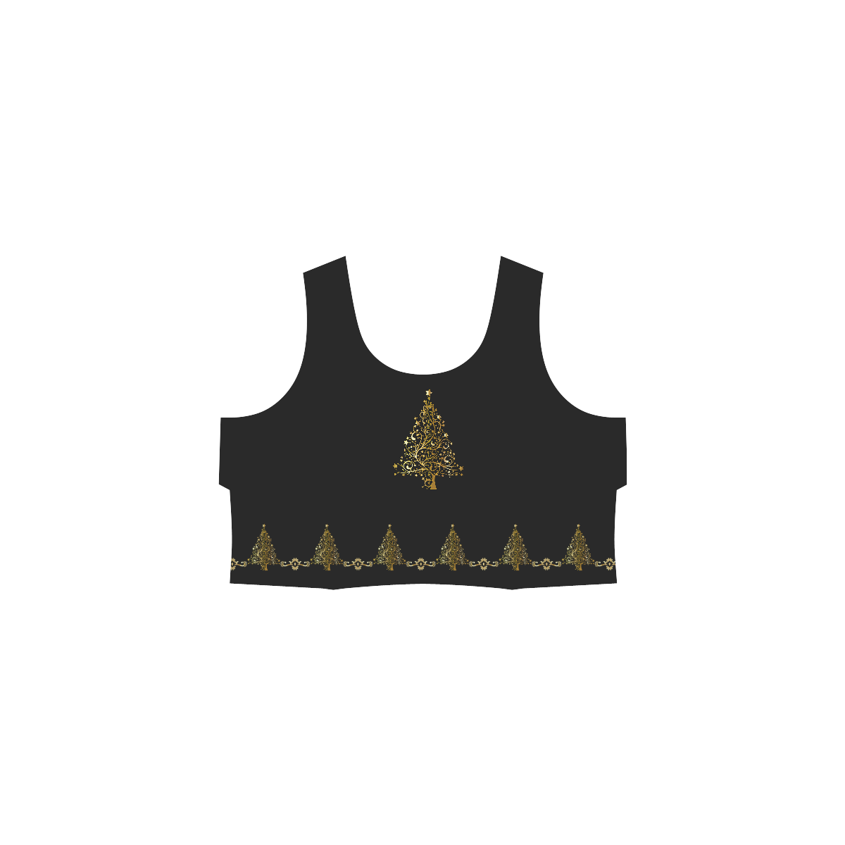 Beautiful Golden Christmas Tree Hebe Casual Sundress (Model D11)