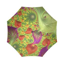Orange Green Purple Trippy Fractal Art Foldable Umbrella (Model U01)