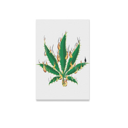 "Flaming Marijuana Leaf Canvas Print 12""x18"""