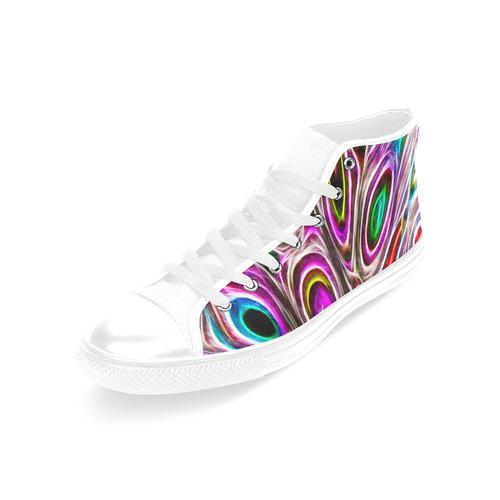 Peacock Strut I - Jera Nour Men's Classic High Top Canvas Shoes /Large Size (Model 017)