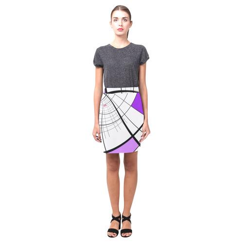 Swirl Grid Lilac Rose Spiral Nemesis Skirt (Model D02)