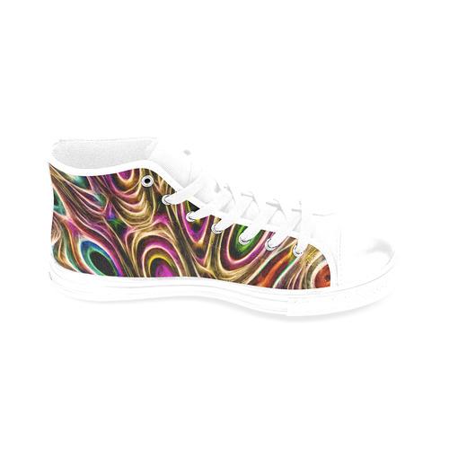 Peacock Strut II - Jera Nour Men's Classic High Top Canvas Shoes /Large Size (Model 017)