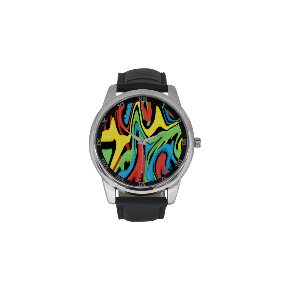 Swirled Rainbow Men's Leather Strap Large Dial Watch(Model 213)