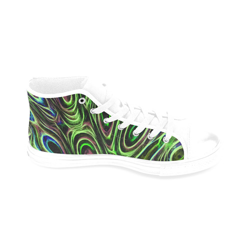 Peacock Strut III - Jera Nour Men's Classic High Top Canvas Shoes /Large Size (Model 017)