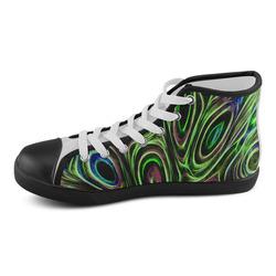 Peacock Strut III - Jera Nour Men's High Top Canvas Shoes (Model 002)