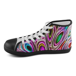Peacock Strut I - Jera Nour Men's High Top Canvas Shoes (Model 002)