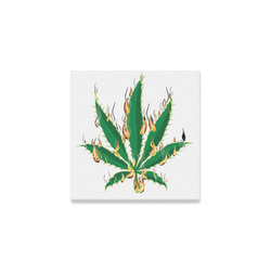 "Flaming Marijuana Leaf Canvas Print 6""x6"""