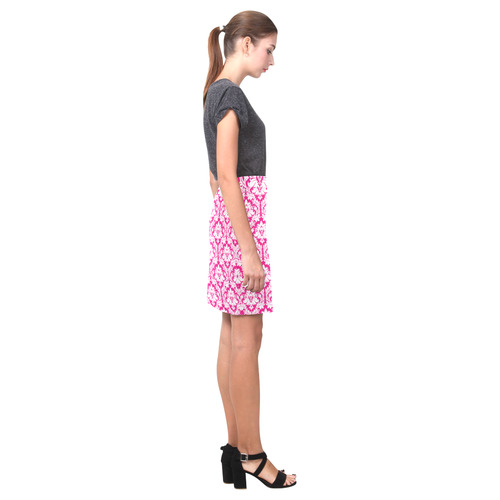 damask pattern hot pink and white Nemesis Skirt (Model D02)