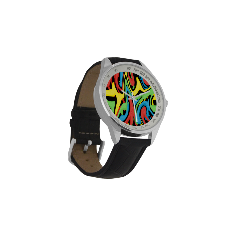 Swirled Rainbow Men's Leather Strap Analog Watch(Model 209)