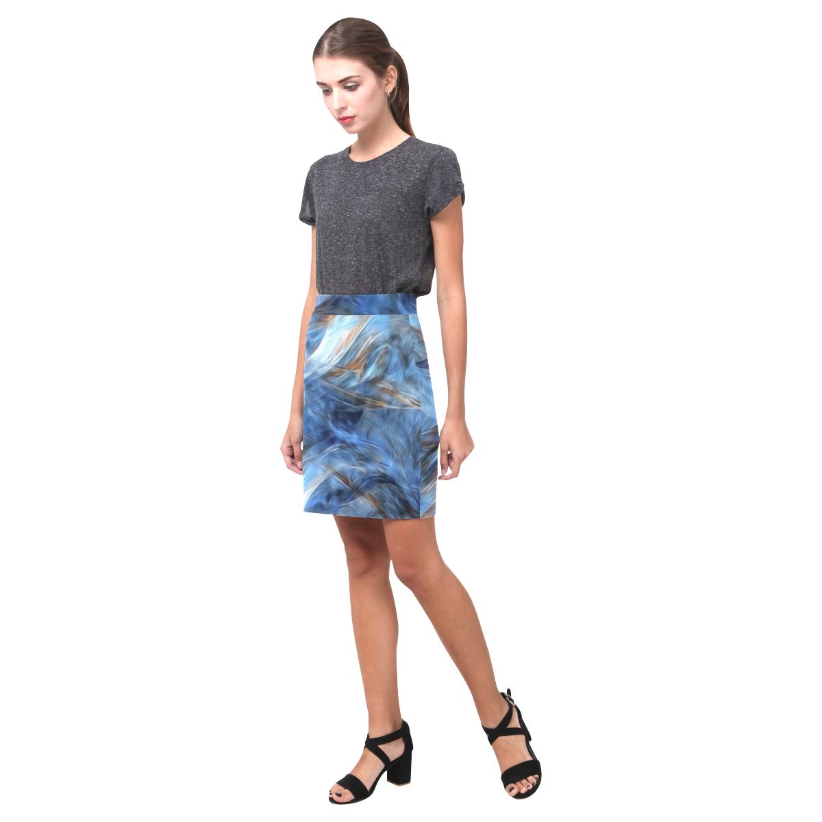 Blue Colorful Abstract Design Nemesis Skirt (Model D02)