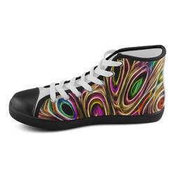 Peacock Strut II - Jera Nour Men's High Top Canvas Shoes (Model 002)