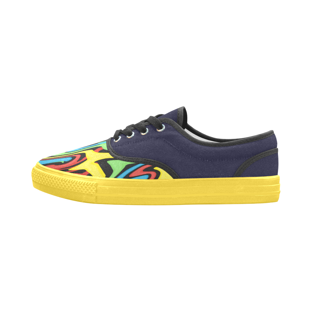 Swirled Rainbow Aries Women's Canvas Shoes (Model 029)