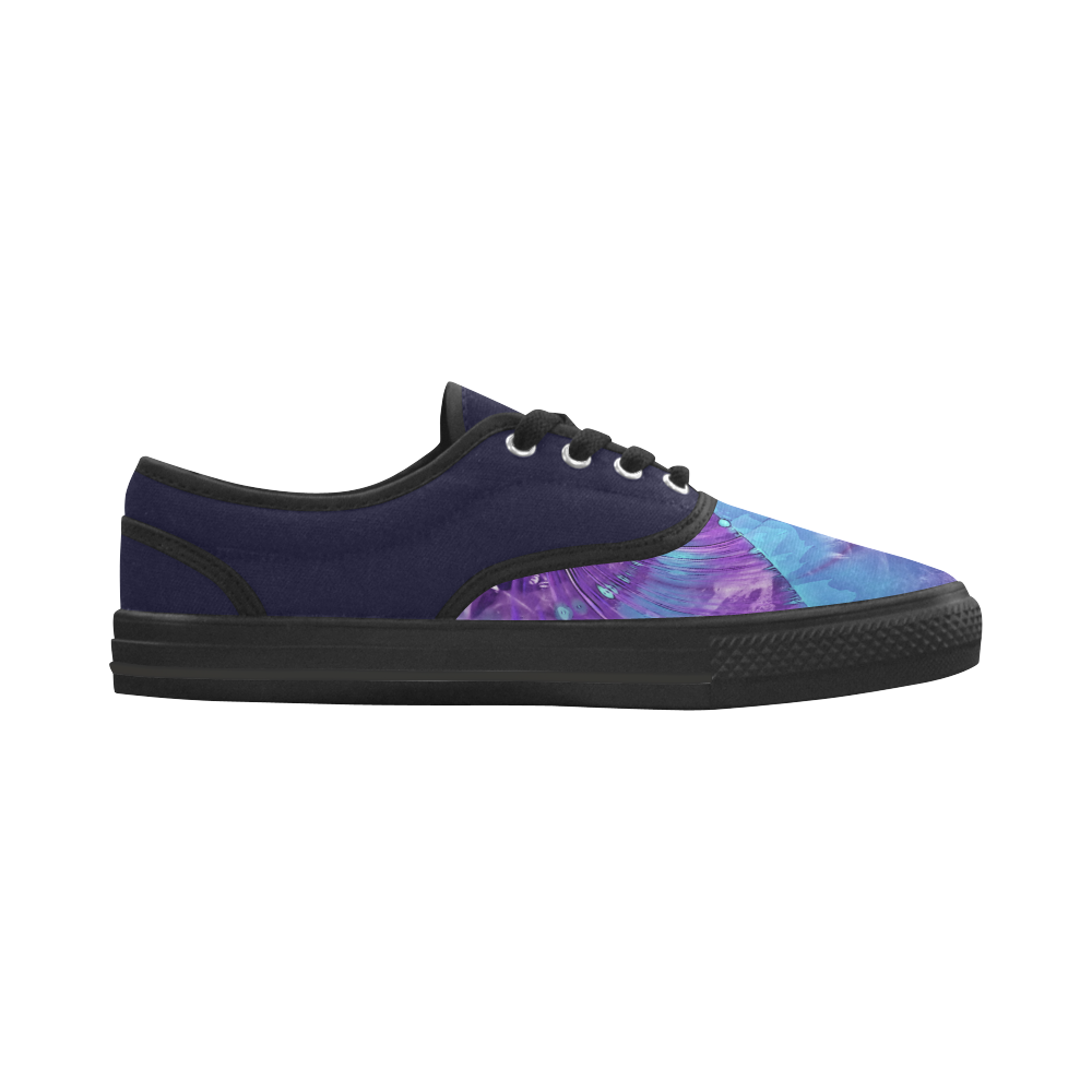 Abstract Fractal Painting - blue magenta pink Aries Men's Canvas Shoes (Model 029)