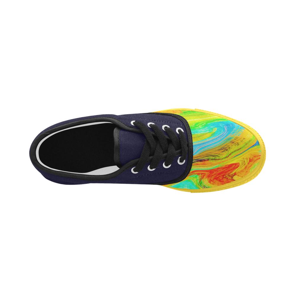 Happy Multicolor Painting Aries Women's Canvas Shoes (Model 029)